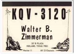KQV-3120 Walter Zimmerman Midland Texas 1960s Vintage Postcard CB QSL