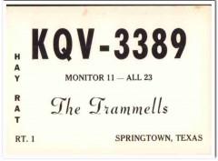 KQV-3389 Trammell Springtown Texas 1960s Vintage Postcard CB QSL Card