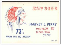 KQV-3406 Harvey Perry El Paso Texas 1960s Vintage Postcard CB QSL Card