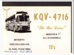 KQV-4716 Jim North El Paso Texas 1960s Vintage Postcard CB QSL Card