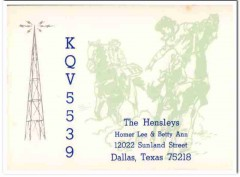 KQV-5539 Homer Hensley Dallas Texas 1960s Vintage Postcard CB QSL Card
