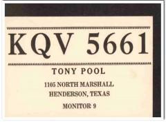 KQV-5661 Tony Pool Hendersonville Texas 1960s Vintage Postcard CB QSL