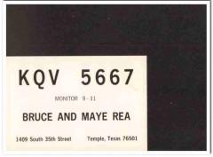 KQV-5667 Bruce Rea Temple Texas 1960s Vintage Postcard CB QSL Card 1