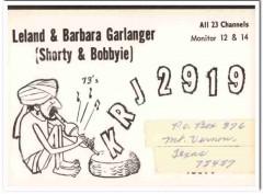 KRJ-2919 Leland Garlanger Mt Vernon TX 1960s Vintage Postcard CB QSL