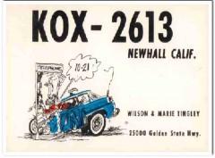 KOX-2613 Wilson Tingley Newhall CA 1960s Vintage Postcard CB QSL 2