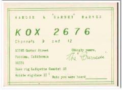 KOX-3676 Barney Barnes Pacoima CA 1960s Vintage Postcard CB QSL
