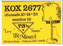 KOX-2677 Larry Maxey Fullerton CA 1960s Vintage Postcard CB QSL