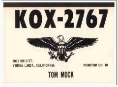 KOX-2767 Tom Mock Yorba Linda CA 1960s Vintage Postcard CB QSL Card