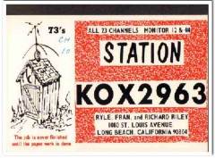 KOX-2963 Ryle Riley Long Beach CA 1960s Vintage Postcard CB QSL