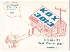 KOX-3013 Lloyd Showalter Norwalk CA 1960s Vintage Postcard CB QSL