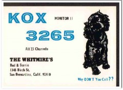 KOX-3265 Bud Whitmire San Bernardino CA 1960s Vintage Postcard CB QSL