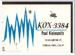 KOX-3384 Paul Kleinsmith Canoga Park CA 1960s Vintage Postcard CB QSL