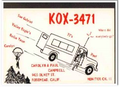 KOX-3471 Paul Campbell Rosemead CA 1960s Vintage Postcard CB QSL