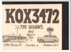 KOX-3472 Fred Gibson Barstow CA 1960s Vintage Postcard CB QSL Card 2