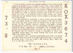 KOX-3674 Harold Hawley Landers CA 1960s Vintage Postcard CB QSL