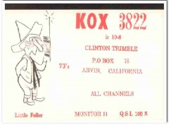 KOX-3822 Clinton Trimble Arvin CA 1960s Vintage Postcard CB QSL