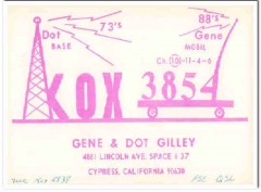 KOX-3854 Gene Gilley Cypress CA 1960s Vintage Postcard CB QSL Card 1