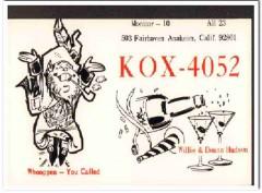KOX-4052 Willie Hudson Anaheim CA 1960s Vintage Postcard CB QSL