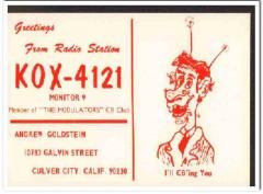 KOX-4121 Andrew Goldstein Culver City CA 1960s Vintage Postcard CB QSL