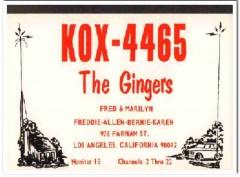 KOX-4465 Fred Ginger Los Angeles CA 1960s Vintage Postcard CB QSL