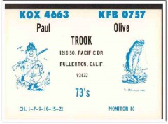KOX-4663 Paul Trook Fullerton CA 1960s Vintage Postcard CB QSL Card