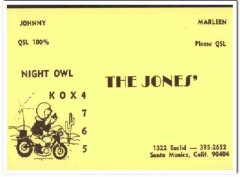 KOX-4765 Johnny Jones Santa Monica CA 1960s Vintage Postcard CB QSL 1