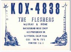 KOX-4838 Murray Flesher La Mirada CA 1960s Vintage Postcard CB QSL 3
