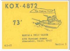 KOX-4872 Harold Walker Atascadero CA 1960s Vintage Postcard CB QSL 2