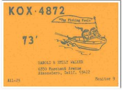 KOX-4872 Harold Walker Atascadero CA 1960s Vintage Postcard CB QSL 3