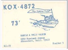 KOX-4872 Harold Walker Atascadero CA 1960s Vintage Postcard CB QSL 5
