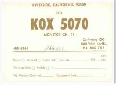 KOX-5070 Bob Von Kanel Riverside CA 1960s Vintage Postcard CB QSL