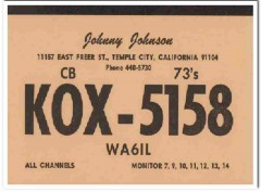 KOX-5158 Johnny Johnson Temple City CA 1960s Vintage Postcard CB QSL