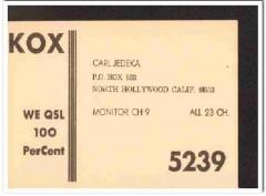 KOX-5239 Carl Jedeka North Hollywood CA 1960s Vintage Postcard CB QSL