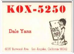 KOX-5250 Dale Yanz Los Angeles CA 1960s Vintage Postcard CB QSL