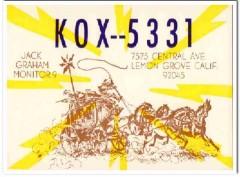 KOX-5331 Jack Graham Lemon Grove CA 1960s Vintage Postcard CB QSL