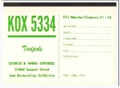 KOX-5334 Geo Kimbrell San Bernardino CA 1960s Vintage Postcard CB QSL