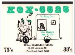 KOX-5525 Don Stebbins Palm Desert CA 1960s Vintage Postcard CB QSL 1