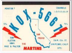 KOX-5667 Bob Martin San Pedro CA 1960s Vintage Postcard CB QSL Card