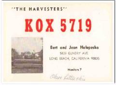 KOX-5719 Bert Halepeska Long Beach CA 1960s Vintage Postcard CB QSL