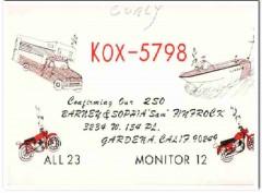 KOX-5798 Barney Finfrock Gardena CA 1960s Vintage Postcard CB QSL