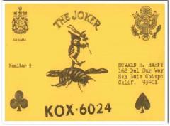 KOX-6024 Howard Happy San Luis Obispo CA 60s Vintage Postcard CB QSL 4