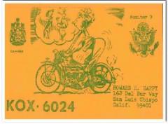 KOX-6024 Howard Happy San Luis Obispo CA 60s Vintage Postcard CB QSL 6