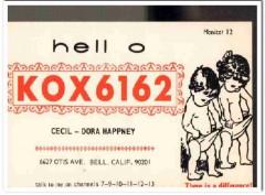 KOX-6162 Cecil Happney Bell CA 1960s Vintage Postcard CB QSL Card 1