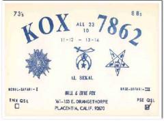 KOX-7862 Bill Fox Placentia CA 1960s Vintage Postcard CB QSL Card