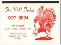 KOY-0094 Chuck Ansom Granada Hills CA 1960s Vintage Postcard CB QSL