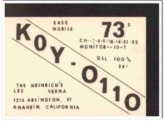 KOY-0110 Les Heinrich Anaheim CA 1960s Vintage Postcard CB QSL Card