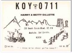 KOY-0711 Harry Gillette Anaheim CA 1960s Vintage Postcard CB QSL