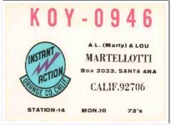 KOY-0946 A L Martellotti Santa Ana CA 1960s Vintage Postcard CB QSL