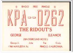 KPA-0262 George Ridout Pinole CA 1960s Vintage Postcard CB QSL Card