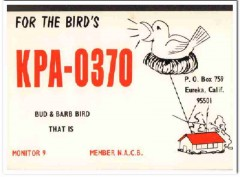 KPA-0370 Bud Bird Eureka CA 1960s Vintage Postcard CB QSL Card